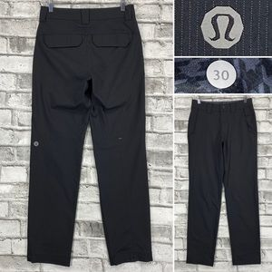Lululemon Work to Play Pant II Mens 30 x 32 Black Soot Pin Stripe Dress Pants